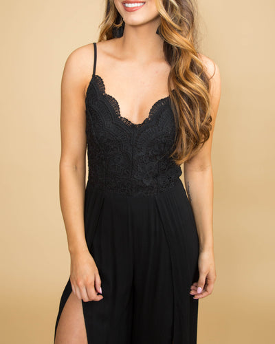 Santorini Sunset Black Lace Jumpsuit - Black