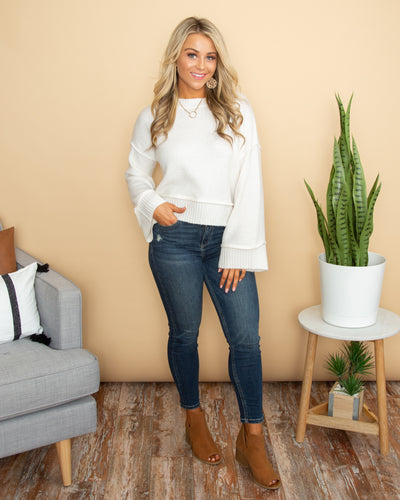 Sassy Sophistication Cropped Sweater - Off White
