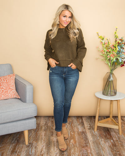 Sassy Sophistication Cropped Sweater - Olive
