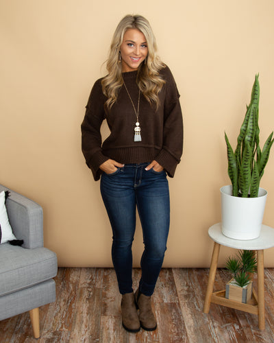 Sassy Sophistication Cropped Sweater - Chocolate