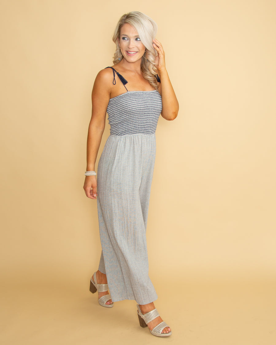 Say I'm Stunning Jumpsuit - Grey