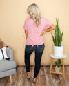 Say It Isn't So Waffle Knit Pocket Top - Dusty Pink