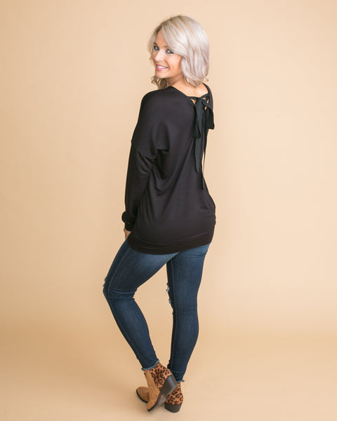 See It Happening Back Crossover Pullover - Black