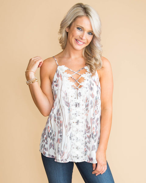 See It Now Floral Lace Criss Cross Tank - Off White