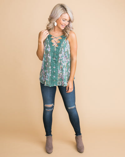 See It Now Floral Lace Criss Cross Tank - Sage