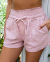Seeking Sunshine Linen Shorts - Blush