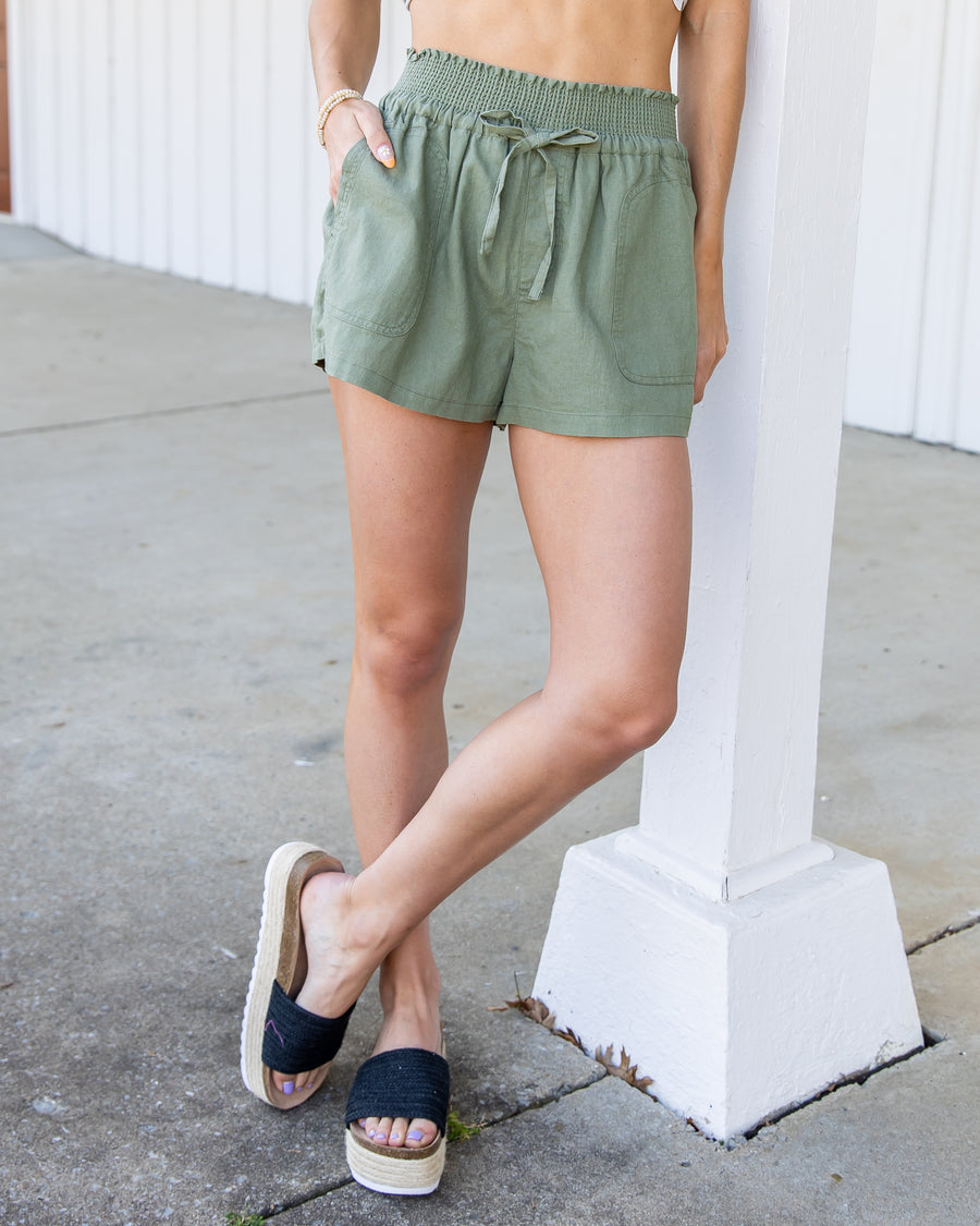 Seeking Sunshine Linen Shorts - Olive