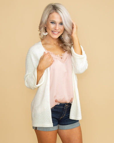 Seen On Rodeo Drive Knit Cardigan - Cream