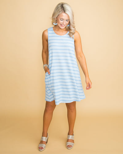 Send Me A Sign Stripe Dress - Blue/Off White
