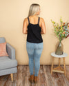 Serenity At Sunset Embroidered Tank - Black