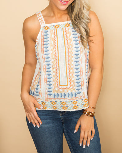 Serenity At Sunset Embroidered Tank - Ivory