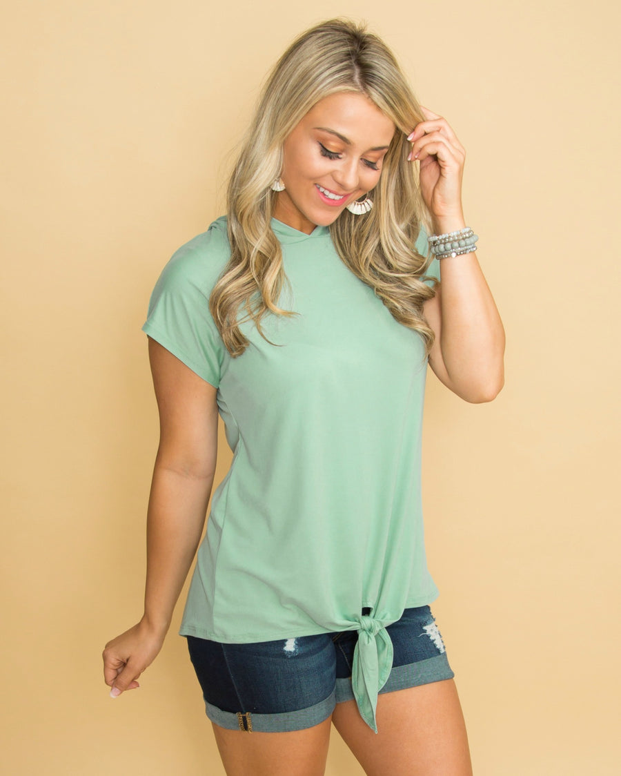 127183cdfc444e Serenity In Solitude Hooded Knot Top - Sage