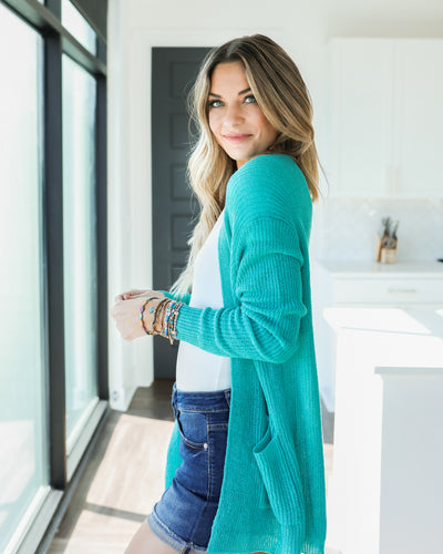Set On You Cardigan - Turquoise