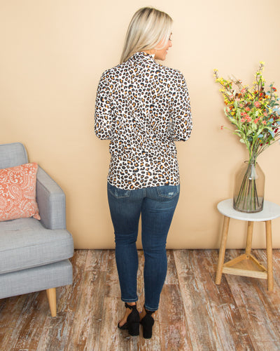 Set For Success Leopard Crossover Top - Ivory