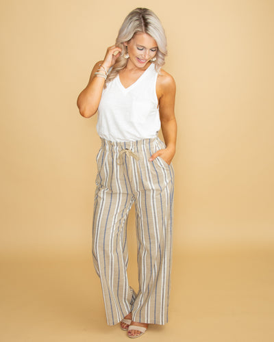 Shabby Chic Stripe Linen Pant - Taupe