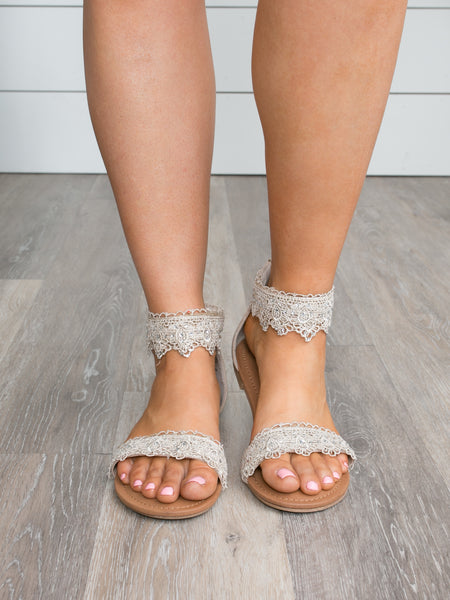Shala Lace Beaded Sandal - Ivory