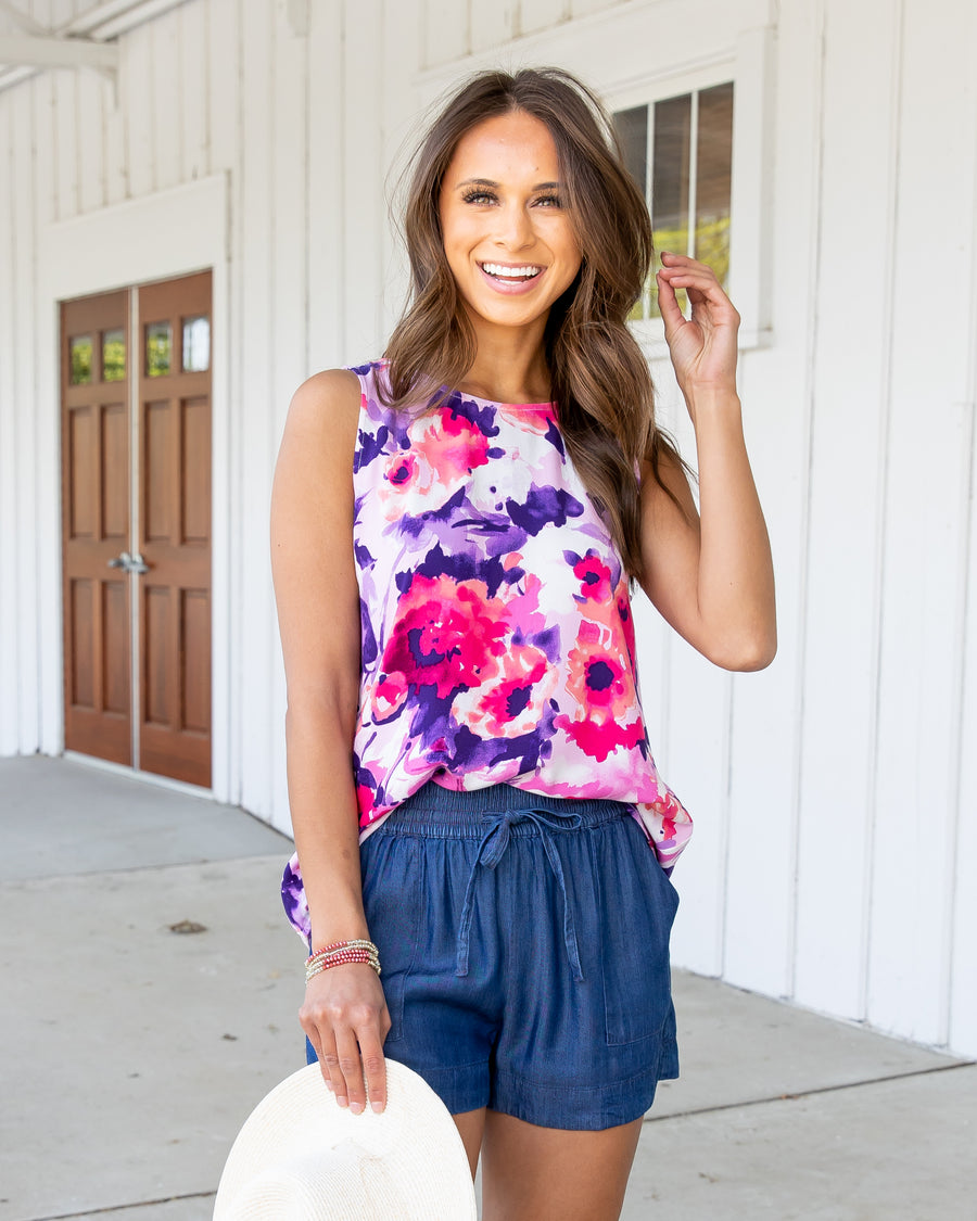 She's Got A Way Floral Tank - Orchid