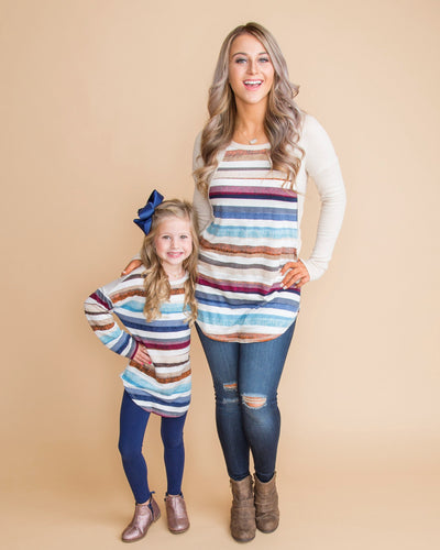 She's My Cutie Stripe Girls Top - Almond