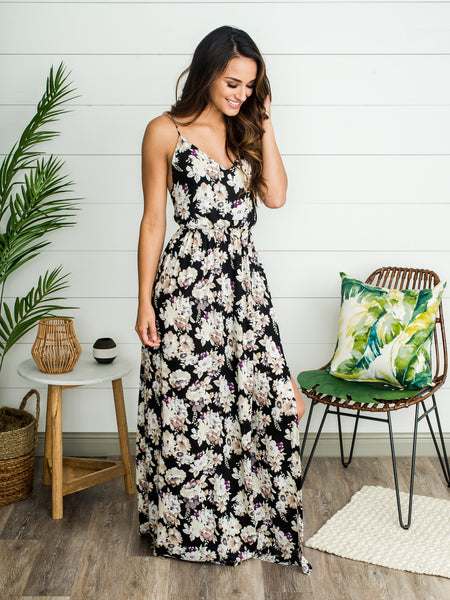 Roman Holiday Maxi Dress - Black