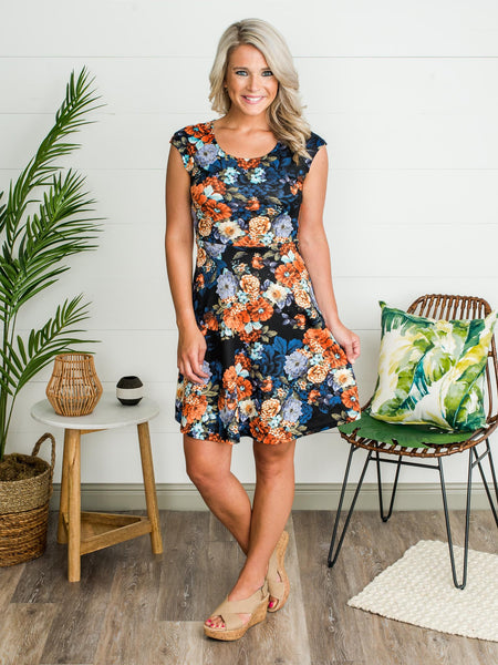 Autumn On My Mind Floral Dress - Navy