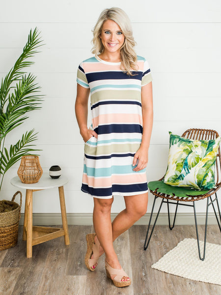 Say It Isn't So Stripe Dress - Multi