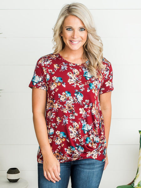 Field Of Dreams Knot Top - Burgundy