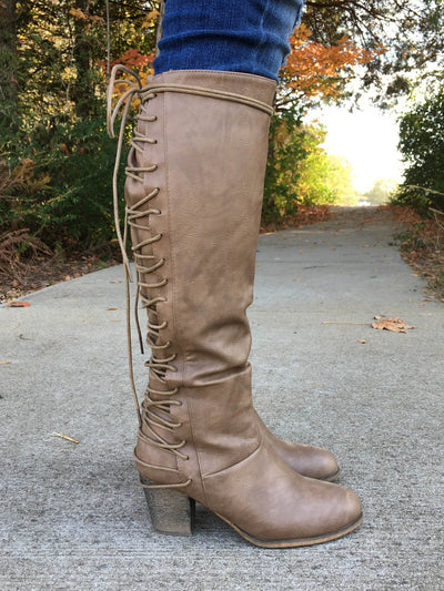 Cassie Lace-Up Boots - Taupe
