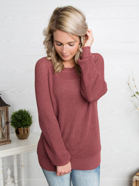 Lean On Me Lace-Up Sweater - Marsala