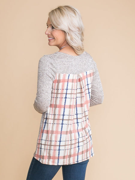 Should That Be The Case Draped Plaid Top - Taupe