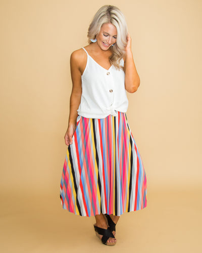 Show Stopper Stripe Skirt - Multi