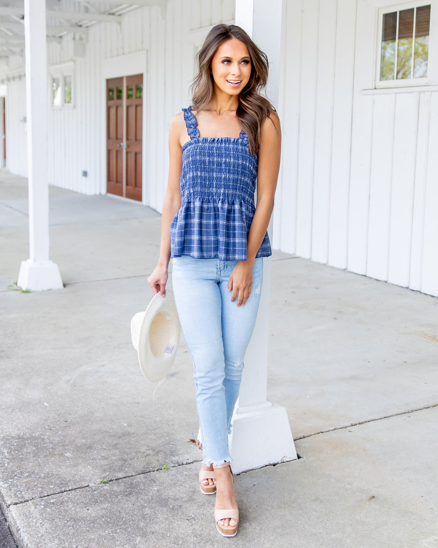 Simply Southern Plaid Tank - Navy