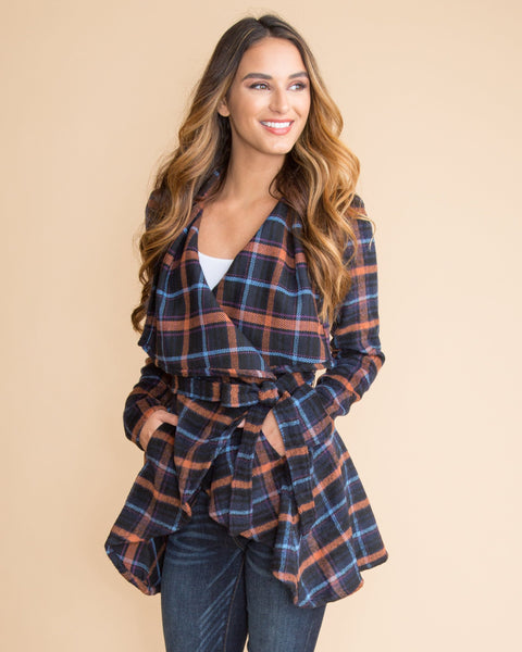 Simply Fabulous Plaid Jacket - Navy