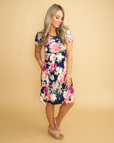 Sincerely Me Floral Dress - Navy
