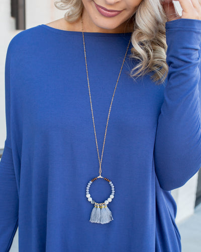 Sloane Ring Tassel Necklace - Slate Blue