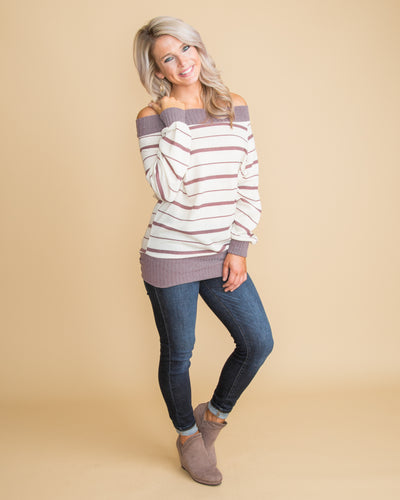 Smitten In Style Off Shoulder Stripe Top - Dusty Purple