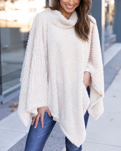 Snow Day Poncho - Cream