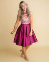Snowflake Kisses Embroidered A-Line Dress - Magenta