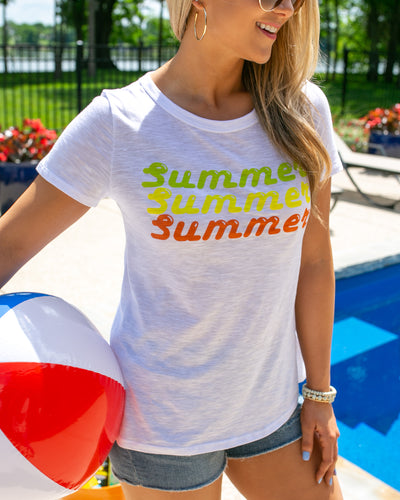 Soak Up The Sun Summer Graphic Tee - Off White
