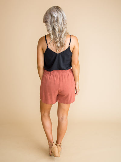 Some May Think Wrap Shorts - Marsala