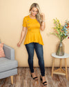 Something In The Air Button Peplum Top - Mustard