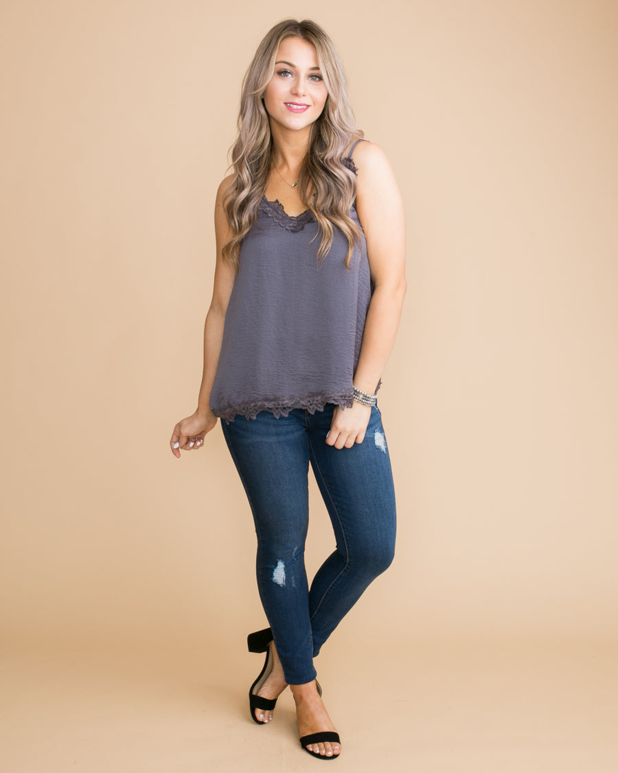 Something Special Lace Camisole - Charcoal