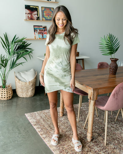 Somewhere Under The Sun Dress - Light Olive