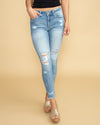 Sophia Distressed Skinny Jean - Light Wash