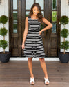 Sophisticated Beauty Stripe Dress - Black/Off White