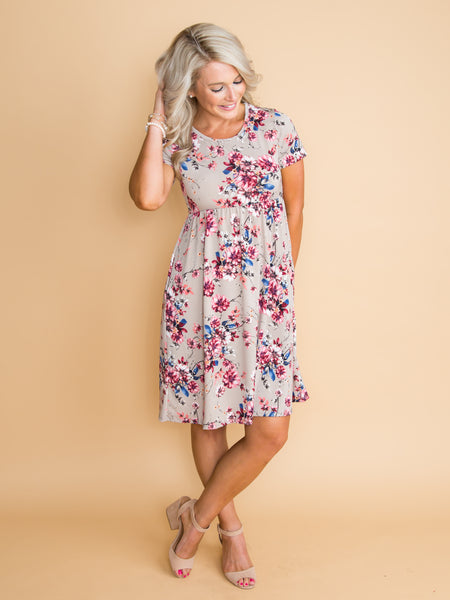 Southhaven Floral Dress - Taupe