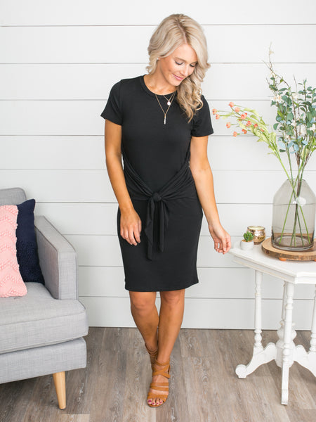 Sparks Fly Knot Dress - Black