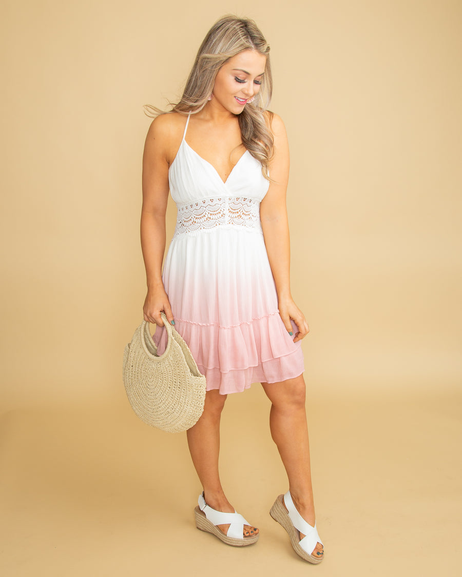 Spring Break Sippin' Lace Ombre Dress - Off White