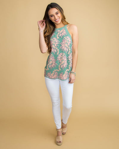 Spring In The Air Crochet Halter Top - Sage