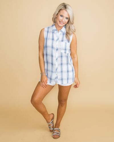 Spring Time Kisses Plaid Button Up Top - Off White/Lt Blue