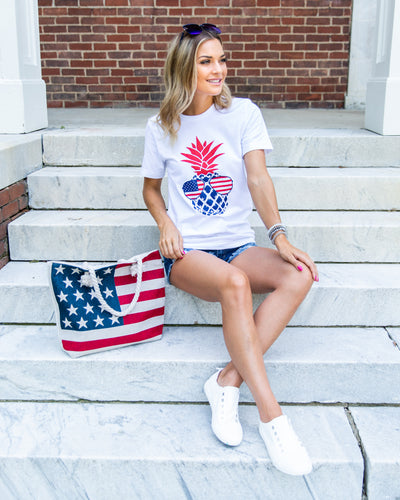 Stand Tall And Be Free Pineapple Graphic Tee - White